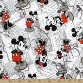 Vintage Mickey Comic Strip Cotton Fabric - White