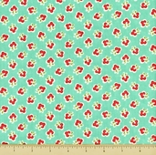 Vintage Modern Cotton Fabric - Small Floral - Teal