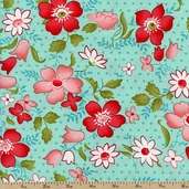Vintage Modern Floral Toss Cotton Fabric - Teal 55040-11