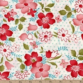 Vintage Modern Floral Toss Cotton Fabric - White 55040-17