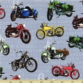 Vintage Motorcycles Cotton Fabric Gray 60538-80