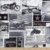 Vintage Motorcycles Cotton Fabric - News