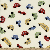 Vintage Play Car Toss Cotton Fabric - Cream