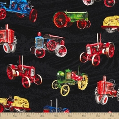 Vintage Tractors Allover Tractors Cotton Fabric - Black