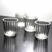 Votive Candle Holder Round Ridged Pkg of 12 - Clear Glass