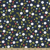 Wallflowers Calico Floral Cotton Fabric - Navy