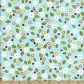 Wallflowers Calico Floral Cotton Fabric - Turquoise