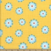 Wallflowers Grid Floral Cotton Fabric - Yellow
