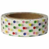 Washi Masking Tape 3pk - White/Mixed Polka Dots