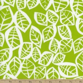 Water Garden Leaves Cotton Fabric - Green
