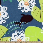 Water Garden Pond Cotton Fabric - Teal