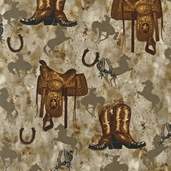 Way out West Cotton Fabric Fabric - Taupe