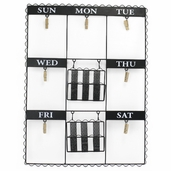 Weekly Reminder Wall Hanging with Clips and Trays - Black