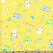 Welcome Baby Animals Flannel Fabric - Yellow