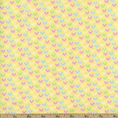 Welcome Baby Hearts Flannel Fabric - Yellow