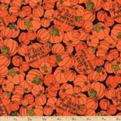 Welcome Great Pumpkin Packed Pumpkin Cotton Fabric - Black