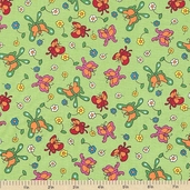 Welcome to Bear Country Butterfly Friends Cotton Fabric - Light Green