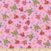 Welcome to Bear Country Butterfly Friends Cotton Fabric - Pink