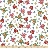 Welcome to Bear Country Butterfly Friends Cotton Fabric - White