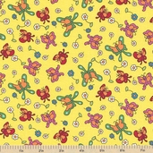 Welcome to Bear Country Butterfly Friends Cotton Fabric - Yellow
