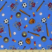 Welcome to Bear Country Novelty Sports Cotton Fabric - Blue