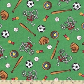 Welcome to Bear Country Novelty Sports Cotton Fabric - Light Green
