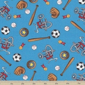 Welcome to Bear Country Novelty Sports Cotton Fabric - Turquoise
