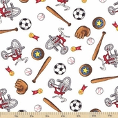 Welcome to Bear Country Novelty Sports Cotton Fabric - White