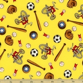 Welcome to Bear Country Novelty Sports Cotton Fabric - Yellow