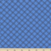 Welcome to Bear Country Plaid Cotton Fabric - Blue