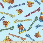 Welcome to Bear Country Signature Characters Cotton Fabric - Sky Blue