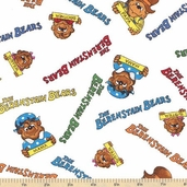 Welcome to Bear Country Signature Characters Cotton Fabric - White