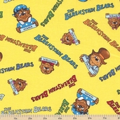 Welcome to Bear Country Signature Characters Cotton Fabric - Yellow