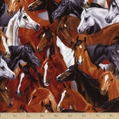 Western Horses Allover Cotton Fabric - Brown