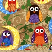 What A Hoot Cotton Fabric Flannel - Beige 3784F-60030-9