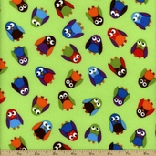 What A Hoot Cotton Fabric Flannel - Lime 3784F-60033-6