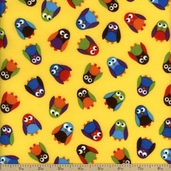 What A Hoot Cotton Fabric Flannel - Yellow 3784F-60033-4