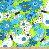 What a Whirl Butterfly Whirl Cotton Fabric - Lime