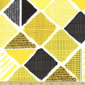 What a Whirl II Diamond Patch Cotton Fabric - Yellow