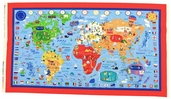 What a World Cotton Fabric - Multi -Color - Map Panel