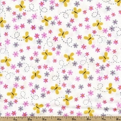 What Girls Are Made Of Butterfly Toss Cotton Fabric - White 22593-Z