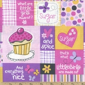 What Girls Are Made Of Cupcake Patch Cotton Fabric - Bubblegum 22591-P