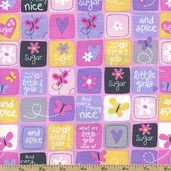 What Girls Are Made Of Sugar & Spice Grid Cotton Fabric - Bubblegum 22592-P