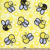 What's the Buzz Bee Toss Cotton Fabric - Yellow