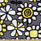 What's the Buzz Large Flowers Cotton Fabric - Grey