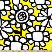 What's the Buzz Large Flowers Cotton Fabric - Yellow
