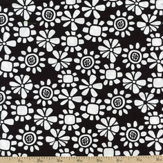 What's the Buzz Small Flowers Cotton Fabric - Black