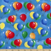 When Pigs Fly Balloons Cotton Fabric - Blue K4137-7 BLUE - Clearance