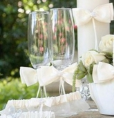 White Sequin Flower Flutes, Cake Knife and Server Set