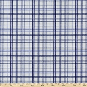 Who's On First Plaid Cotton Fabric - Blue